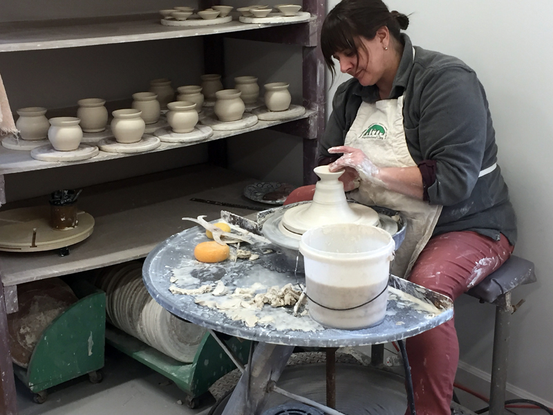 Ceramicist Liz Proffetty throws a pot. (Photo courtesy Liz Proffetty)