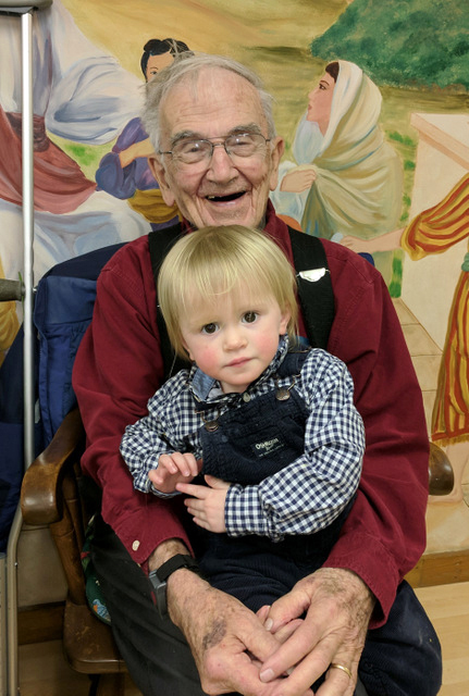 Little Miss Merriweather Gill, of Bremen, and Bill Robinson, of Waldoboro, at the most recent Simply Supper at Bremen Union Church.