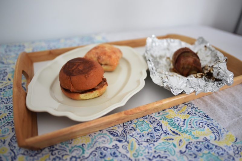 """Some examples of Sweet Georgia BBQ dishes include pulled chicken and """"potato bombs."""" (Jessica Picard photo)"""