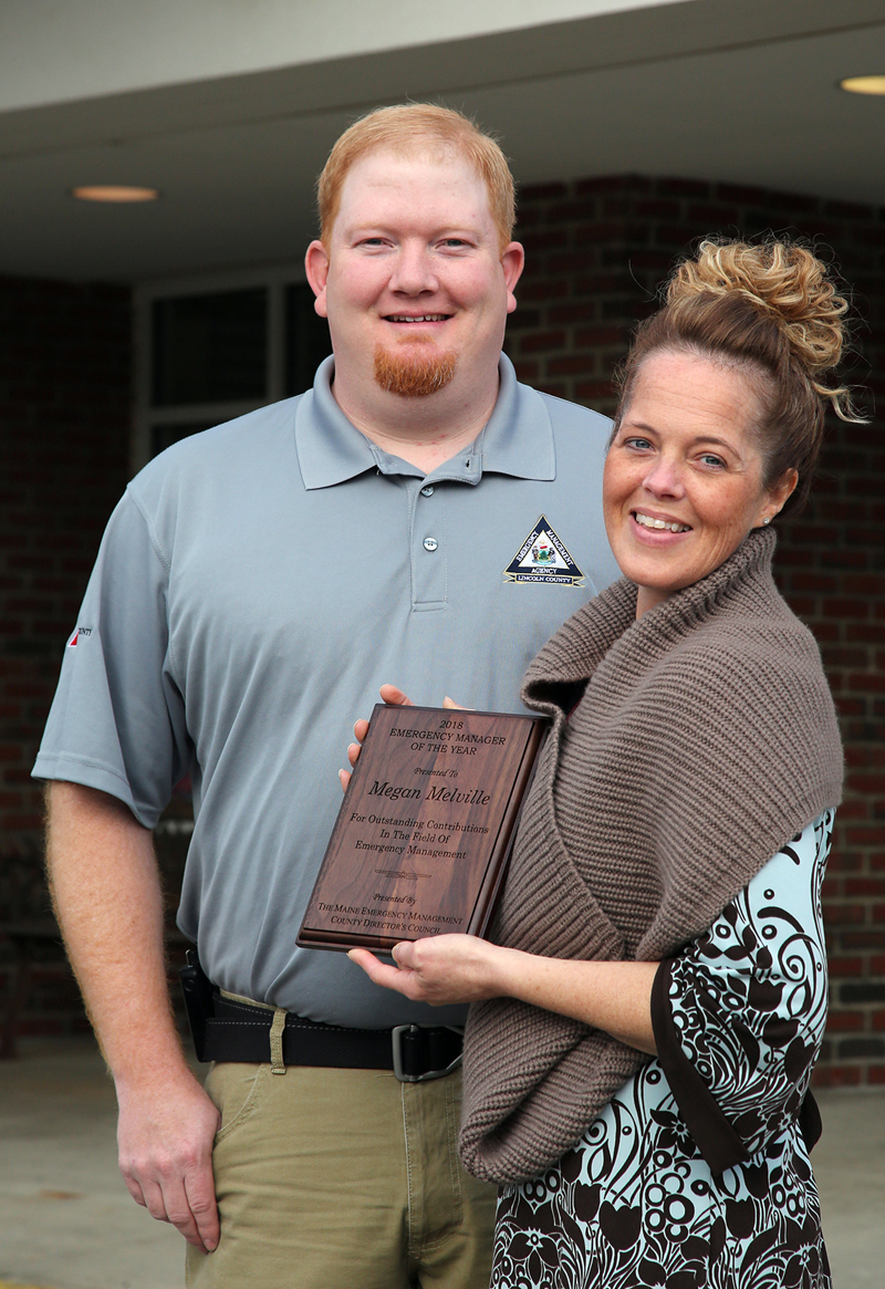 Lincoln County Emergency Management Agency Director Casey Stevens poses for a photo with 2018 Emergency Manager of the Year Megan Melville, of LincolnHealth. (Photo courtesy Scott Shott)