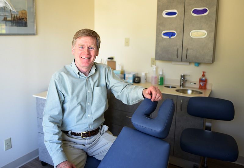Dr. Thomas Rice sits in the new Damariscotta location of his practice, Midcoast Orthodontics, Friday, May 18. (Jessica Picard photo)