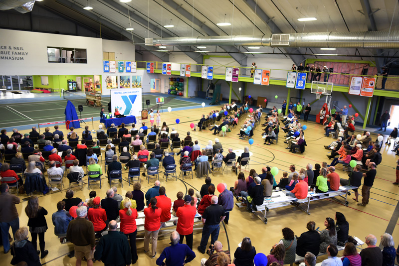 More than 300 people attend the grand reopening of the Central Lincoln County YMCA in Damariscotta on Sunday, April 29. (Jessica Picard photo)