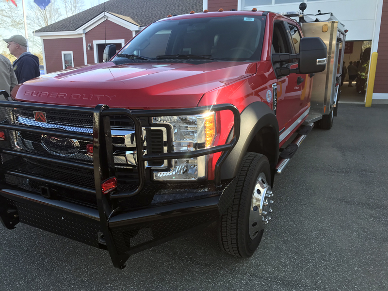"""A """"fast-attack"""" or """"mini-pumper"""" vehicle similar to the model the Edgecomb Fire Department hopes to buy. A dealer loaned the vehicle to the department for a special meeting at the fire station Wednesday, May 9. (John Maguire photo)"""