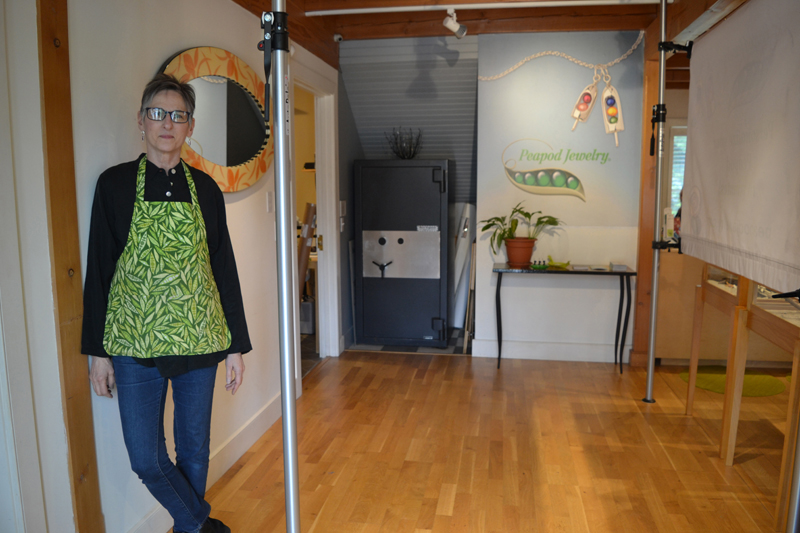 Ronna Lugosch stands in the future doorway of the new extension of the current jewelry-making studio at Peapod Jewelry in Edgecomb. (Christine LaPado-Breglia photo)