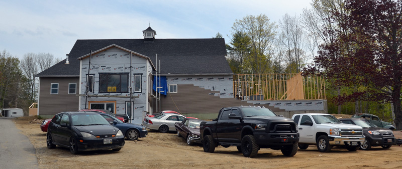 The new home of Twisted Iron Customs continues to take shape at the corner of Dodge Road and Route 1 in Edgecomb. (Maia Zewert photo)
