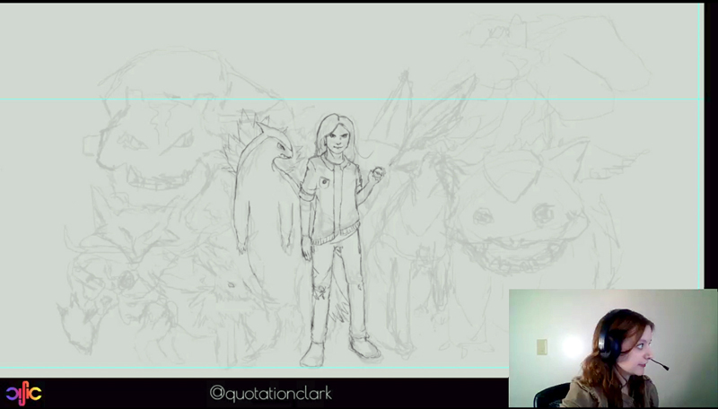 A screenshot of Amber Clark's digital-painting live-stream on Twitch. (Image courtesy Amber Clark)