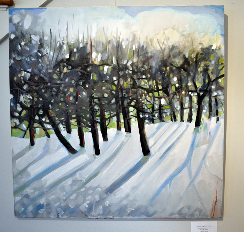 """""""Ice Orchard,"""" an oil painting by Susan Bartlett Rice, is part of her current """"Blooms and Loons"""" show in the office-gallery at Pemaquid Watershed Association in Damariscotta. (Christtine LaPado-Breglia photo)"""
