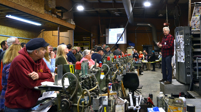 Lincoln County Publishing Co. President Chris Roberts addresses attendees of an open house Jan. 17. The company will host another open house Wednesday, June 27.