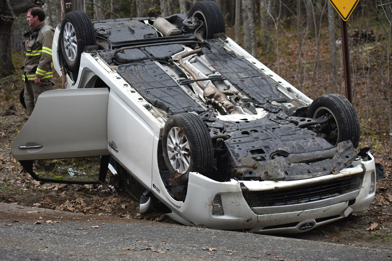 A Toyota Prius lies on its roof after a two-vehicle collision in North Nobleboro the afternoon of Sunday, May 6. (Alexander Violo photo)