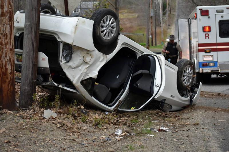 A two-vehicle collision on Upper East Pond Road in Nobleboro occurred when a Toyota Prius attempted to avoid a collision with a Dodge Stratus entering the road Sunday, May 6. (Alexander Violo photo)