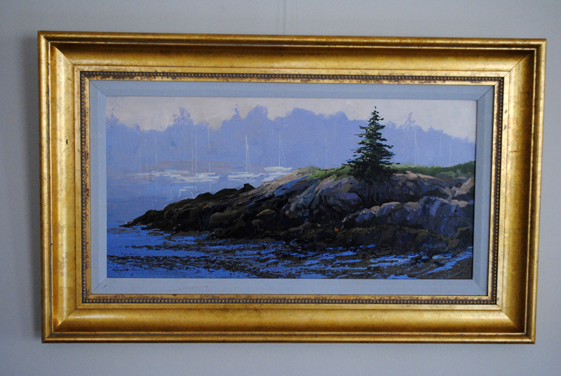One can view the PWA collection of art for sale at The Lincoln Home in Newcastle, including this beautiful framed and signed original acrylic painting of a harbor scene by New Harbor's late Ron Fletcher.