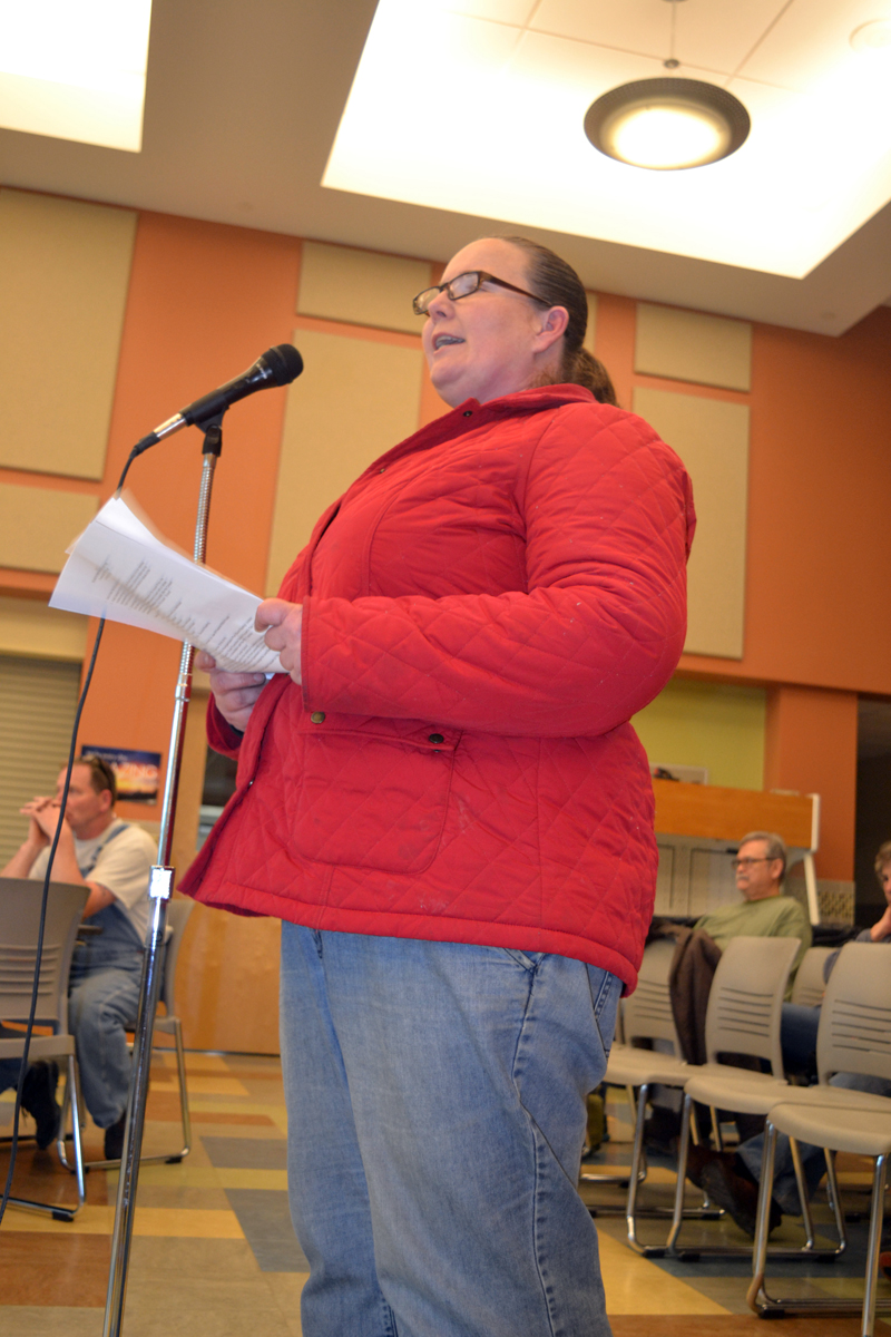 Ona Brazwell, of Alna, urges the RSU 12 Board of Directors to vote against Alna's petition to amend the RSU 12 Reorganization Plan during a board meeting at Chelsea Elementary School on Thursday, May 10. (Christine LaPado-Breglia photo)