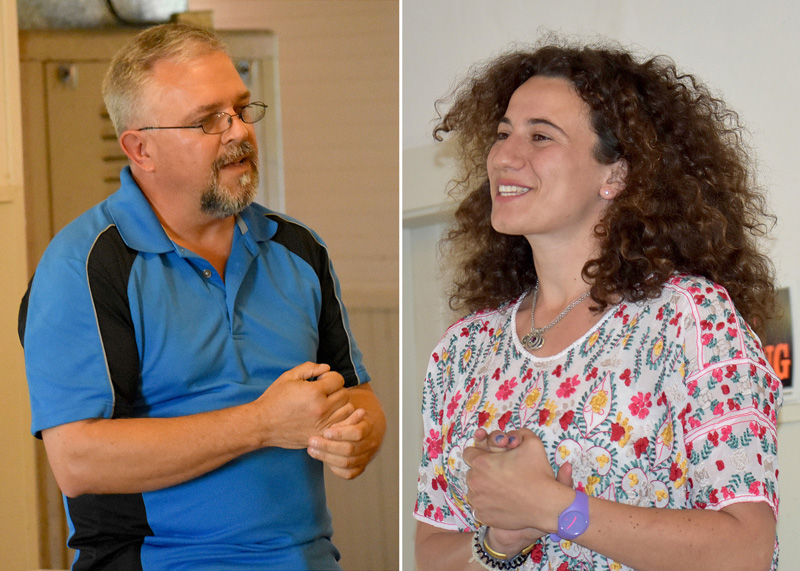 Alan Plummer and Chloe Maxmin, candidates for the Democratic primary in Maine House District 88, address the audience during a forum at the Kings Mills Union Hall on Thursday, May 24. (Alexander Violo photos)
