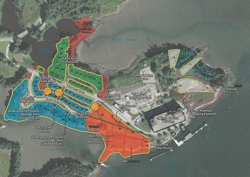 A map from Ransom Consulting Inc. shows the four lots (in orange) the town of Wiscasset will clean up with grants from the Environmental Protection Agency.