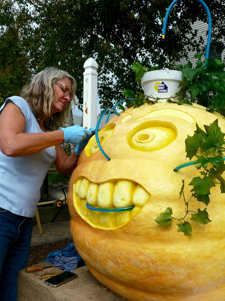 Carving a giant pumpkin.