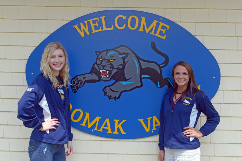 Medomak Valley cheerleaders Megan Wright and Adrianna Wadsworth have cheered together for five years. They are heading off to rival Division I schools to cheer in the fall. Wright will attend the University of New Hampshire and Wadsworth the University of Maine. (Paula Roberts photo)