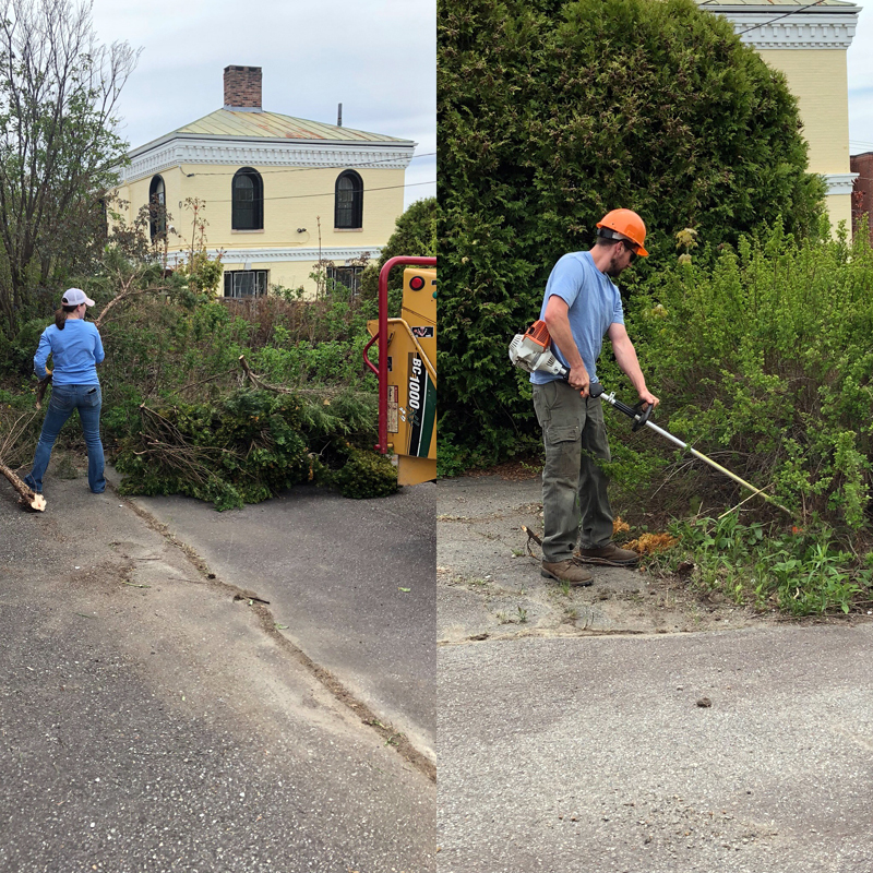 Shannon and Amanda Mahan from Mac Tree Service in Pemaquid clean up the Waldo Theatre grounds.