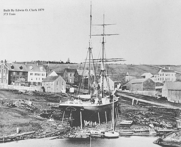 Brig Stacy Clark, 373 tons, built by E.O. Clark, 1879. (Photo courtesy Maine Maritime Museum)