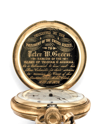 The gold pocket watch awarded by President Rutherford B. Hayes to Peter W. Green, the chief islander at the time. (Photo courtesy Peter Millington)
