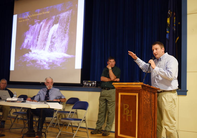 Joe McLean, of the engineering firm Wright-Pierce, speaks during a public hearing about the Bristol Mills Dam at Bristol Consolidated School on Wednesday, June 20. (Jessica Picard photo)