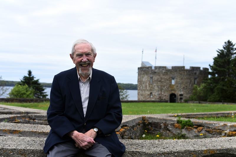 Bob Howell, one of the founders of The Friends of Colonial Pemaquid, sits in front of Fort William Henry on Friday, May 25. (Jessica Picard photo)
