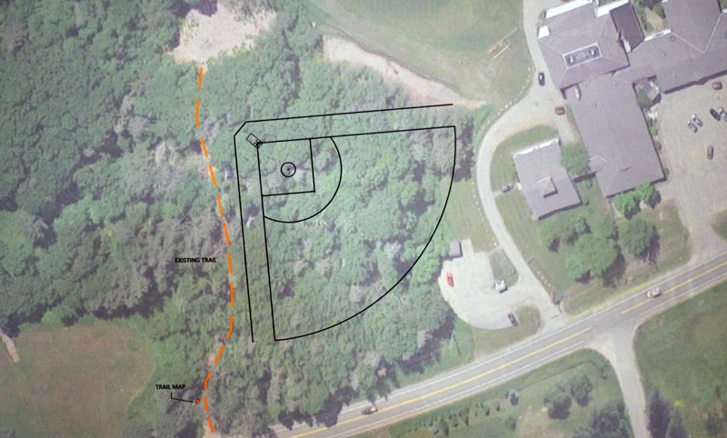 A diagram depicts the location of a potential new softball field at Bristol Consolidated School. The field was the subject of a public hearing at the school Wednesday, June 20. (Jessica Picard photo)