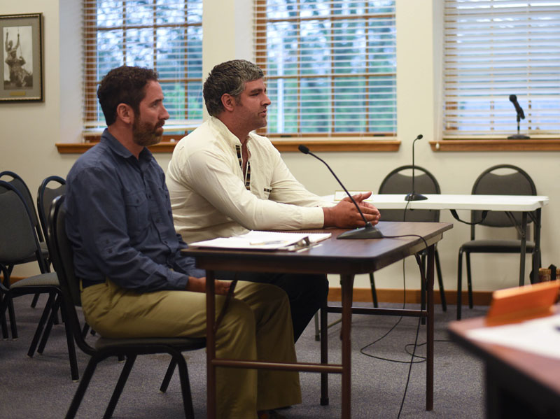 Mark Ferrero (left) and Ryan Ellis present their proposal for a medical cannabis storefront on Main Street to the Damariscotta Planning Board on Monday, June 4. (Jessica Picard photo)