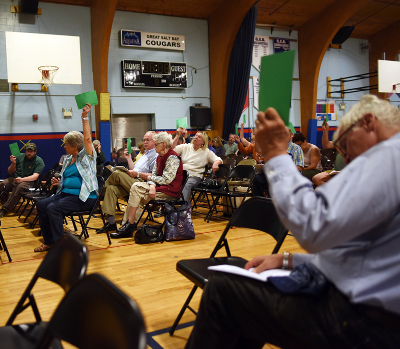 Damariscotta residents vote during annual town meeting at Great Salt Bay Community School on Wednesday, June 13. (Jessica Picard photo)