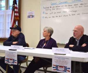 The candidates for first selectman in Dresden answer questions during a forum at Pownalborough Hall on Monday, June 4. From left: John Ottum, Trudy Foss, and Dale Hinote. (Jessica Clifford photo)