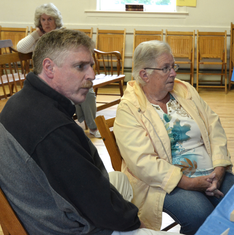 Wiscasset Selectmen Jeff Slack and Judy Colby meet with the Edgecomb Board of Selectmen at the Edgecomb town hall Monday, June 4. (Maia Zewert photo)