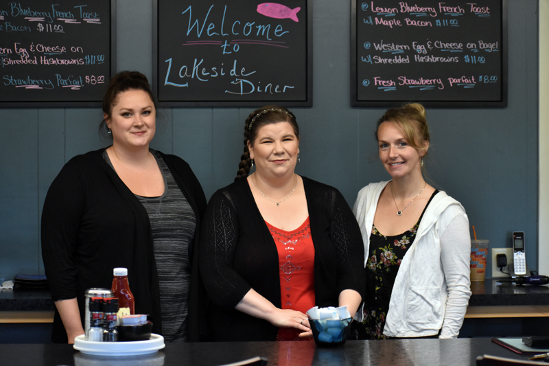 From left: Mary Phifer, owner Melanie Hilton, and Michelle Creamer stand at the front of the new Lakeside Diner in Jefferson. (Alexander Violo photo)
