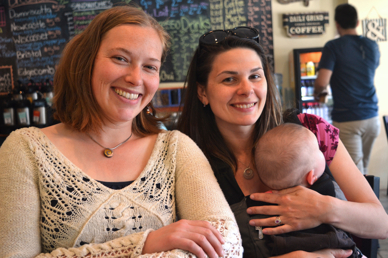 Torie DeLisle and Mallory Adams (with her baby, Willow) are excited about the new collaborative partnership between Skidompha Library and River Company. (Christine LaPado-Breglia photo)