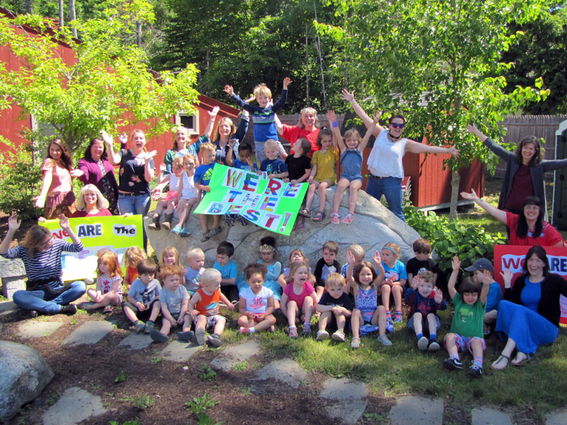 Coastal Kids Preschool celebrates after being selected by readers of Down East Magazine as the top preschool in Maine. (Photo courtesy Mimi Reeves)