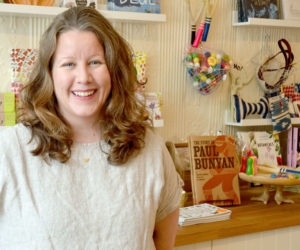 "The Beach Plum Co. owner Amanda ""A.J."" Kras stands in her new brick-and-mortar store at 77 Main St. in Newcastle. (Maia Zewert photo)"