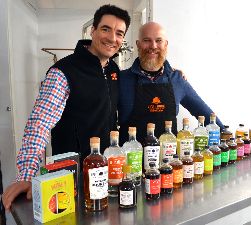 Split Rock Distilling co-founders Topher Mallory (left) and Matt Page recently purchased Royal Rose Syrups, a line of organic simple syrups, and relocated production of the syrups from Brunswick to the distillery's headquarters in Newcastle. (Maia Zewert photo)