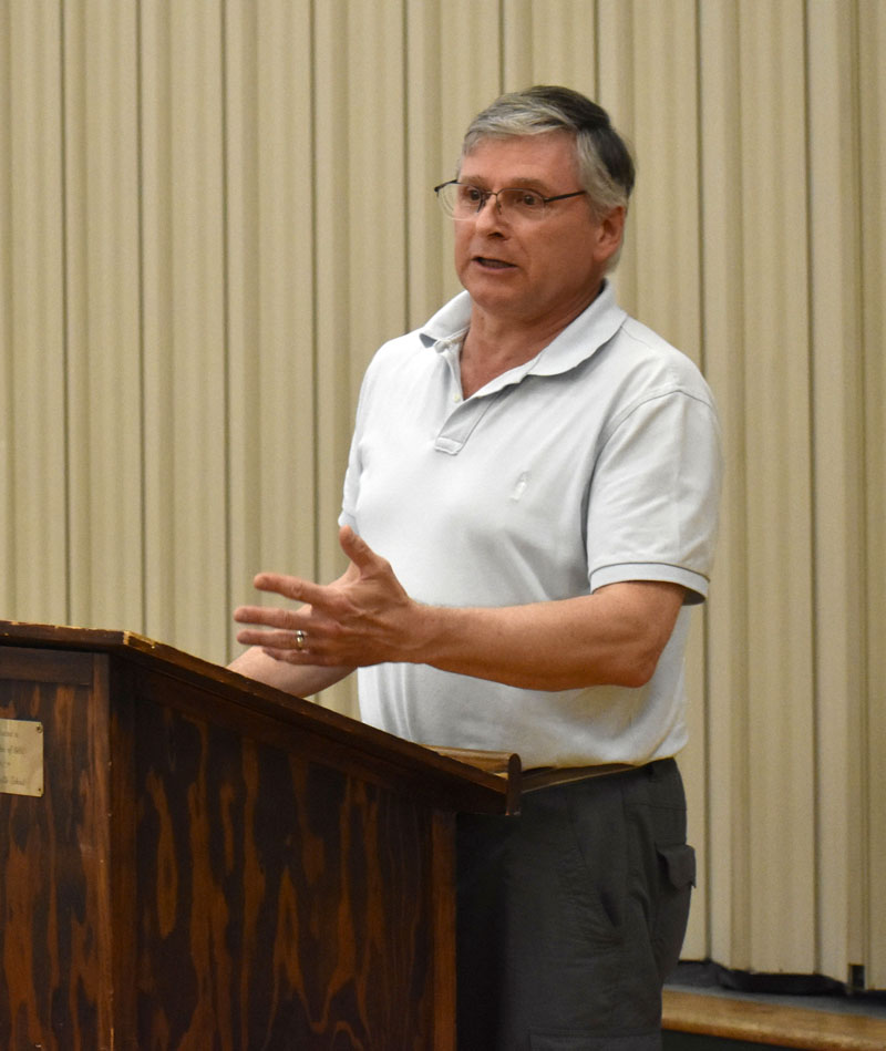 Christopher Johnson, candidate for first selectman, answers a question during the candidates forum in Somerville on Saturday, June 2. Johnson's opponent did not attend the forum. (Alexander Violo photo)