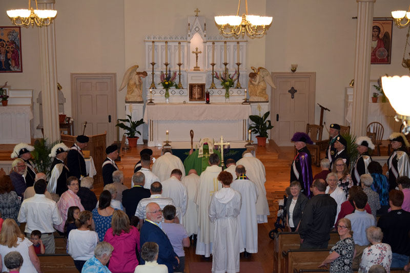 Approximately 250 people attended the 200th anniversary Mass at St. Denis Church in Whitefield on Sunday, June 10. (Jessica Clifford photo)