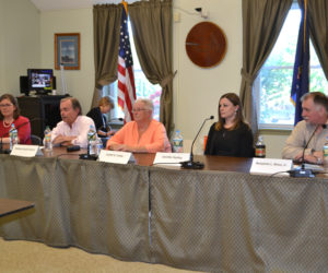 The candidates for the Wiscasset Board of Selectmen participate in a forum at the municipal building Thursday, May 31. From left: Kim Andersson, David Cherry, Judy Colby, Jennifer Hanley, and Benjamin Rines Jr. (Charlotte Boynton photo)