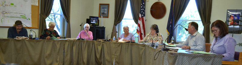 The Wiscasset Board of Selectmen meets Tuesday, June 19. From left: Selectmen Robert Blagden and Katharine Martin-Savage, recording secretary Jackie Lowell, Chair Judy Colby, Town Manager Marian Anderson, and Selectmen Benjamin Rines Jr. and Kim Andersson. (Charlotte Boynton photo)