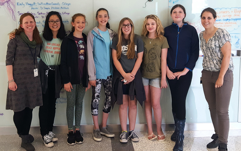 The Girls Who Code Club and their facilitators tour Bigelow Laboratory for Ocean Sciences.