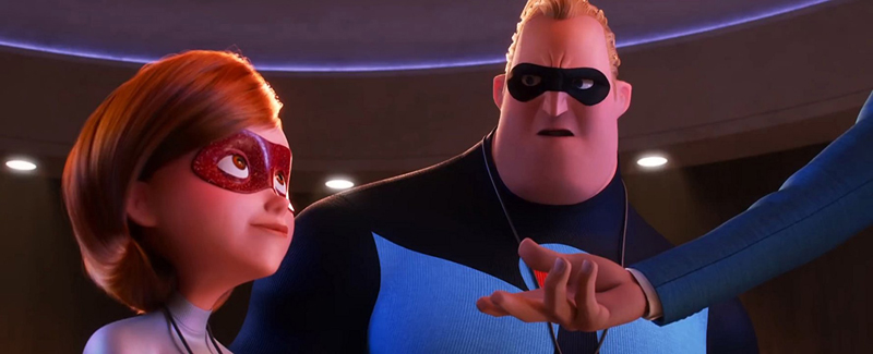 "The characters voiced by Holly Hunter and Craig T. Nelson in ""Incredibles 2."""