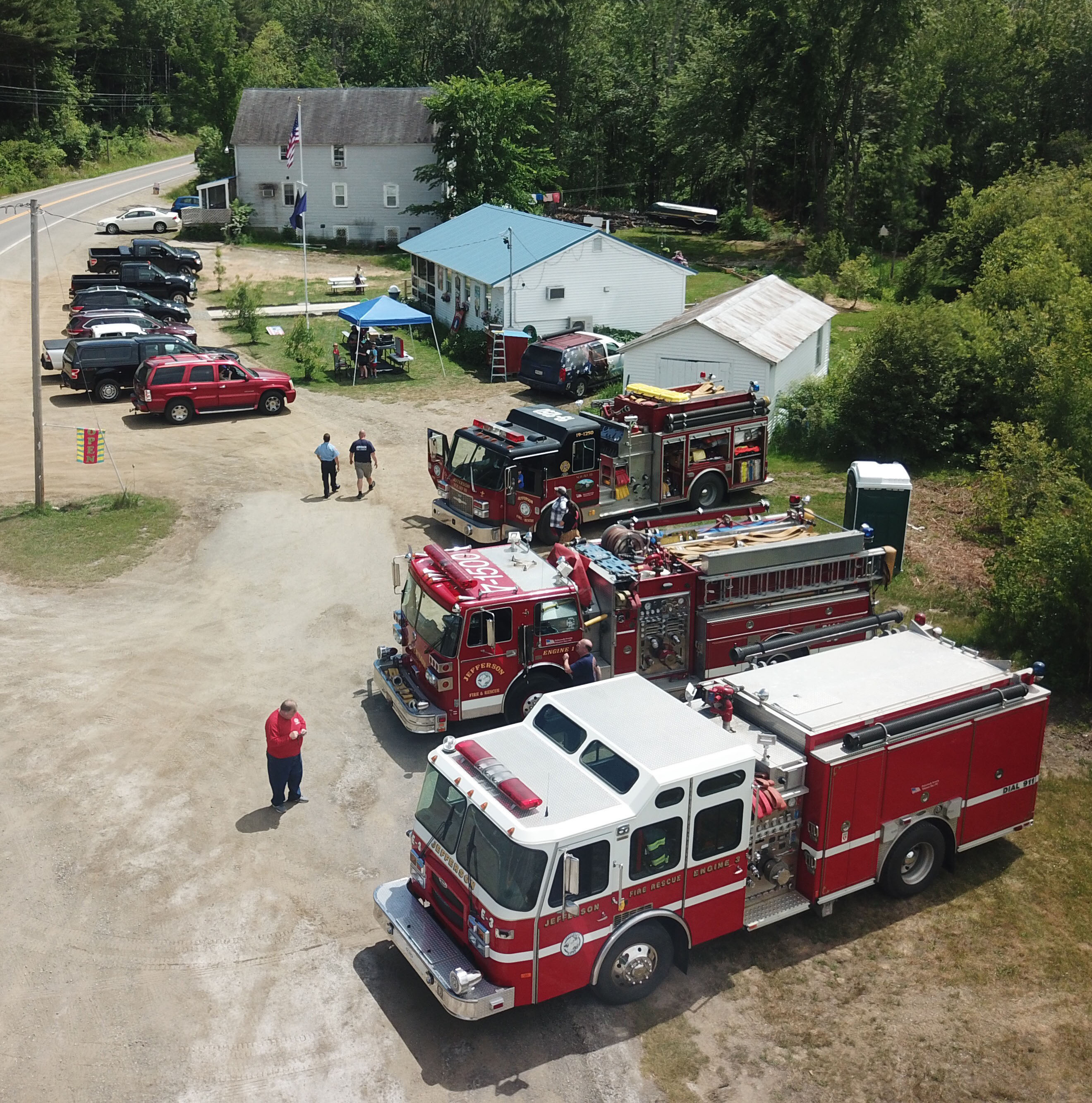 A drone's-eye view of the Jefferson Scoop during the Jefferson Fire and Rescue fundraiser Saturday. (Photo courtesy Joe Holland)