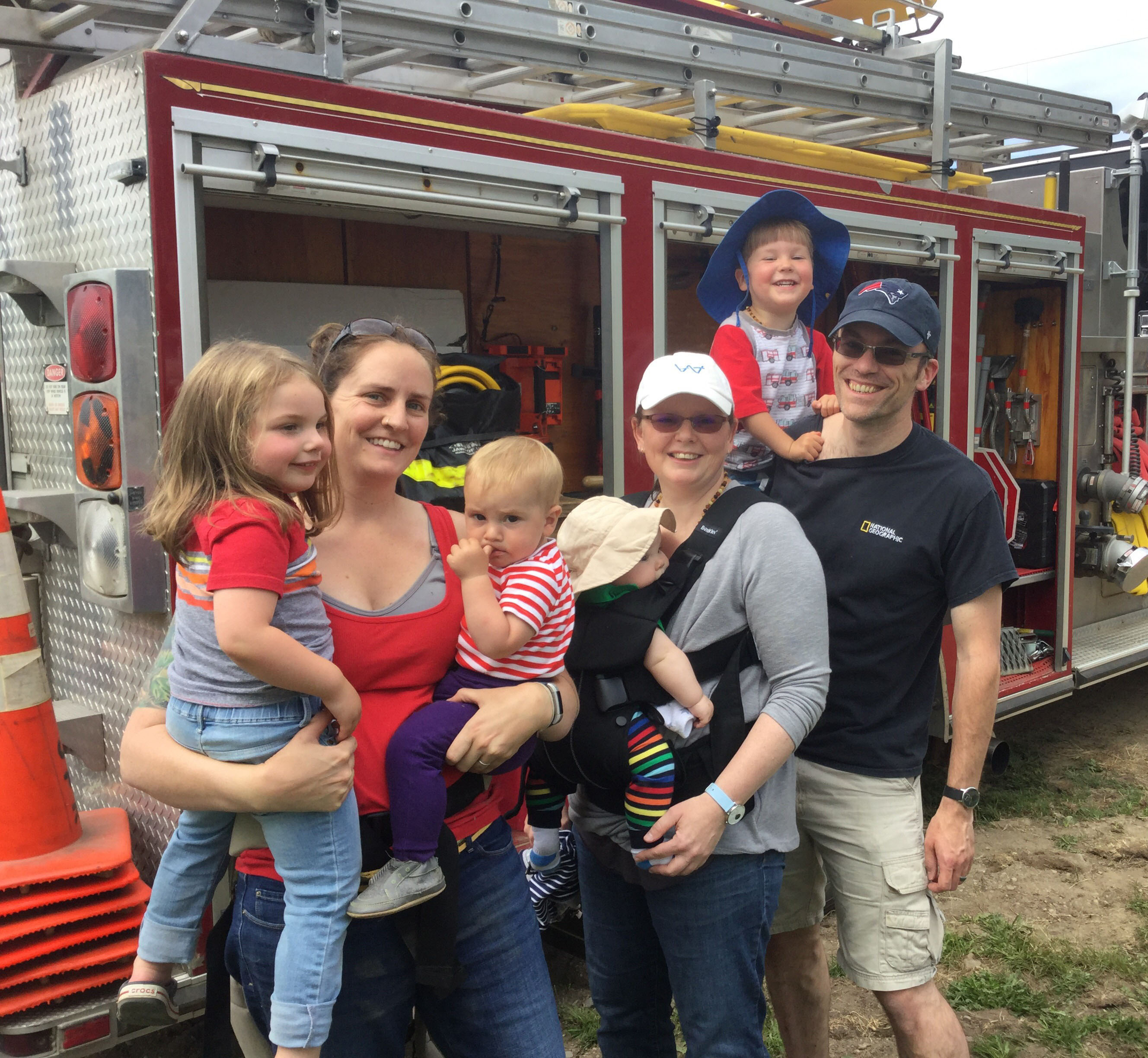 Familes explore a fire truck during the Jefferson Scoop fundraiser for Jefferson Fire and Rescue on Saturday, June 23. (Photo courtesy Joe Holland)