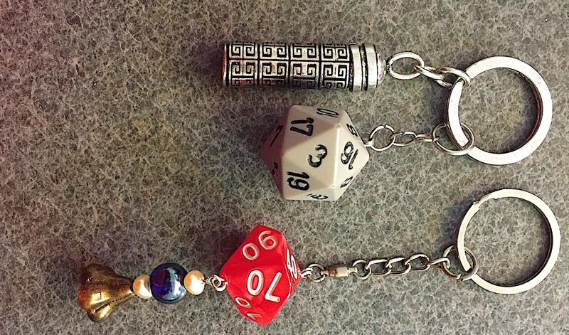 Keyrings and jewelry inspired by the dice used in the tabletop game Dungeons and Dragons are part of a Wiscasset Middle High School pop-up exhibit at the Waldoboro Art Walk. (Photo courtesy Stephan Puff)