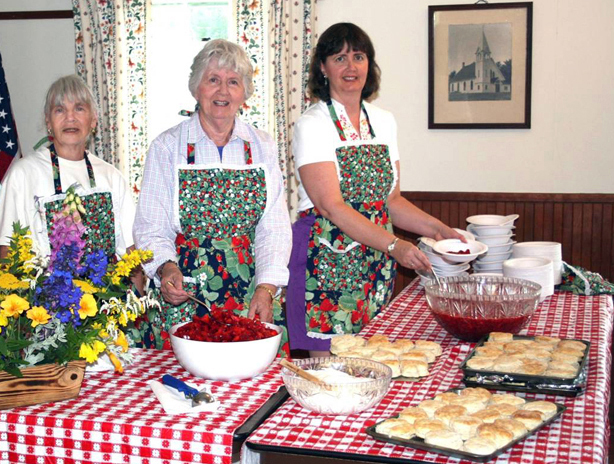 From left: Betty Forsberg, Gladys Johnston, and Laurie Bouchard at a previous Strawberry Festival.