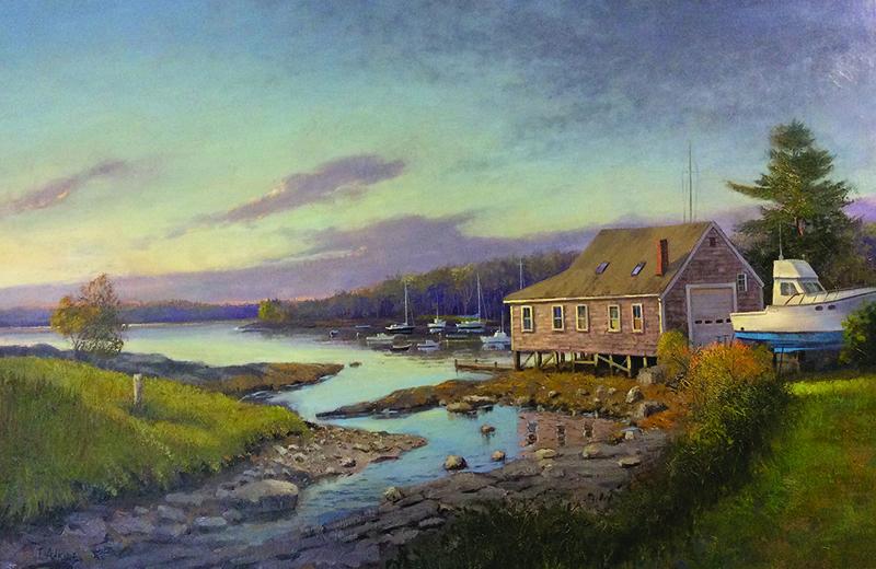"""""""Boat House Sunrise, Round Pond,"""" by Thomas C. Adkins."""