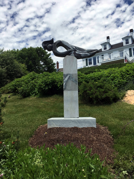 """""""Mercury,"""" a sculpture by Dick Alden, is at Greenleaf Inn. (Photo courtesy Patricia Royall)"""