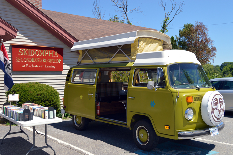 A 1960s Volkswagen Westfalia completes the 1960s theme at the 50th anniversary celebration of the Skidompha Secondhand Book Shop in Damariscotta on Saturday, July 21. (Johanna Neeson photo)