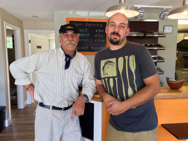 Father and son Andrew and Al Rzycki in their new shop, Old Time Donuts, in Damariscotta. (Photo courtesy Old Time Donuts)