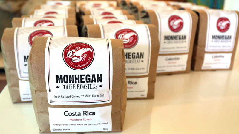 Bags of Monhegan Coffee Roasters beans. (Maia Zewert photo)